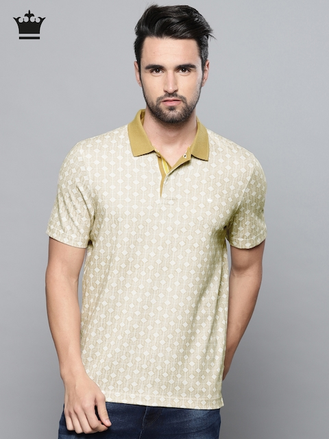 Louis Philippe Men Beige Self Design Polo Collar T-shirt
