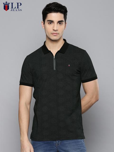 Louis Philippe Jeans Men Black Printed Polo Collar T-shirt