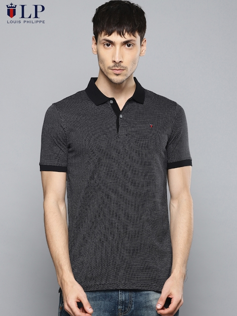 Louis Philippe Sport Men Black Self Design Polo Collar T-shirt