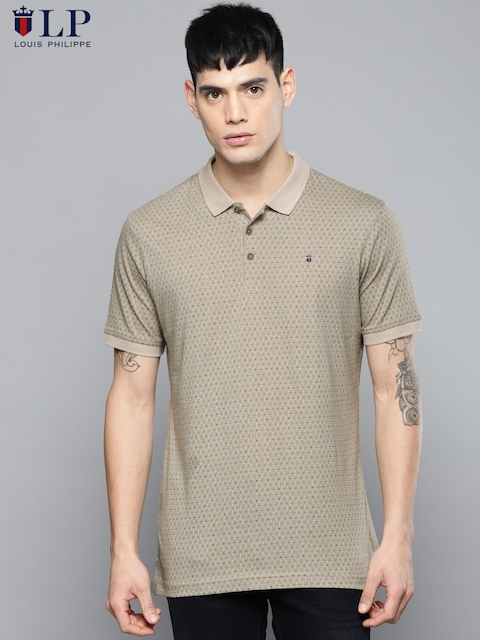 Louis Philippe Sport Men Beige Printed Polo Collar T-shirt
