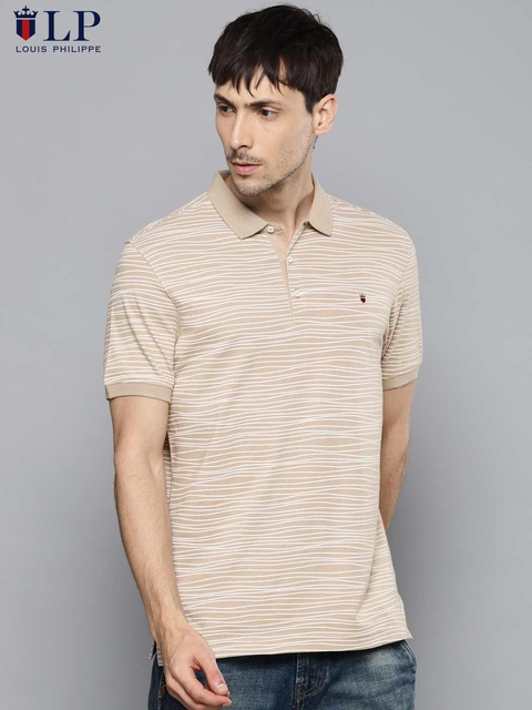 Louis Philippe Sport Men Beige & Off-White Printed Polo Collar T-shirt