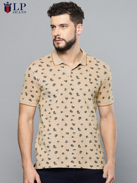 Louis Philippe Jeans Men Brown Printed Polo Collar T-shirt