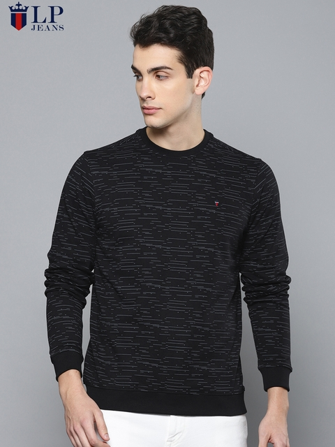 Louis Philippe Jeans Men Black Printed Sweatshirt