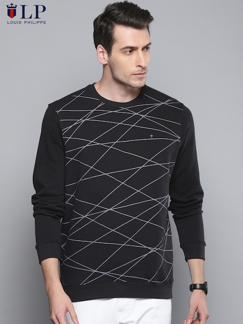 Louis Philippe Sport Men Black Printed Sweatshirt