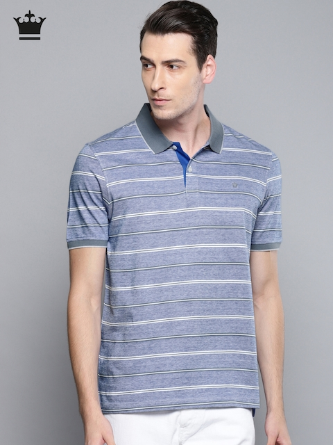 Louis Philippe Men Blue Striped Polo Collar T-shirt
