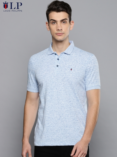Louis Philippe Sport Men Blue Solid Polo Collar T-shirt
