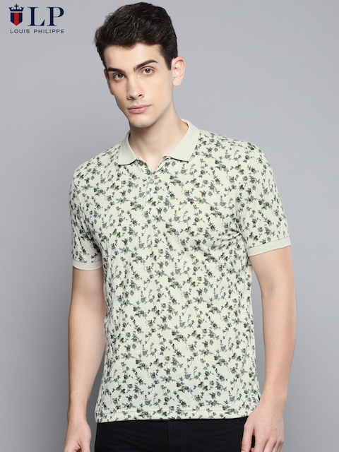 Louis Philippe Sport Men Beige & Green Printed Polo Collar T-shirt