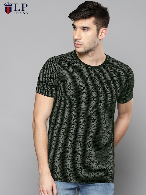 Louis Philippe Jeans Men Black Solid Round Neck T-shirt