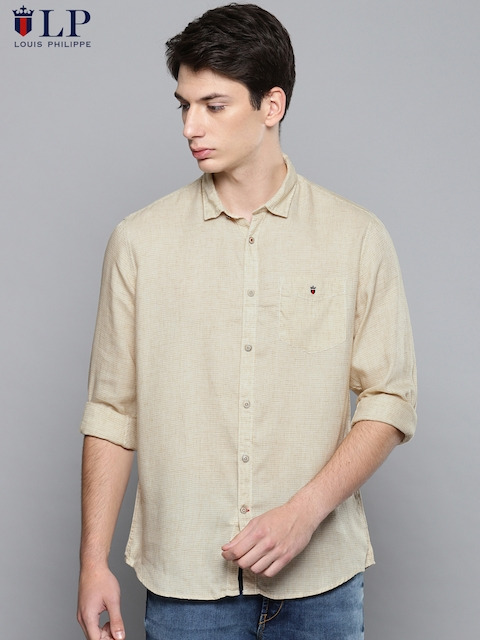 6d112fd9c84b 40%off Louis Philippe Sport Men Brown Slim Fit Self Design Casual Shirt