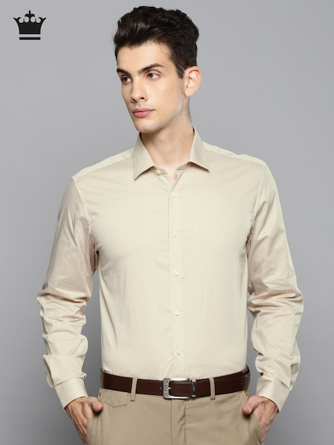 Louis Philippe Men Beige & White Slim Fit Checked Formal Shirt