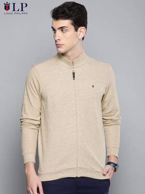 Louis Philippe Sport Men Beige Self Design Sweatshirt