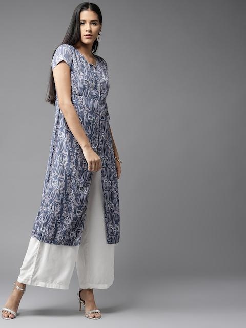 HERE&NOW Women Blue Printed Straight Kurta