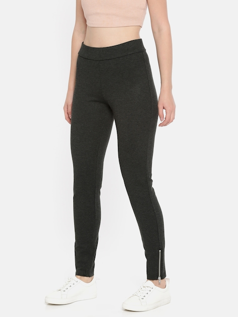Vero Moda Women Charcoal Grey Regular Fit Solid Treggings