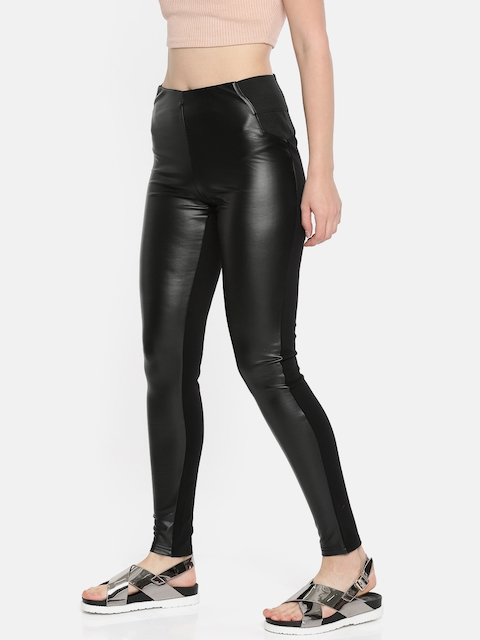 Vero Moda Women Black Regular Fit Solid Treggings