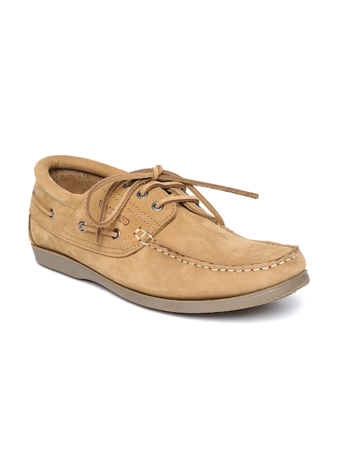 Woodland Men Camel Brown Nubuck Leather Boat Shoes