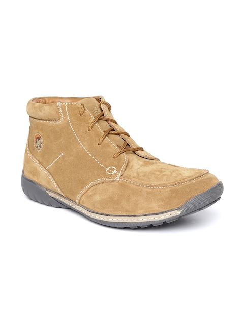 Woodland ProPlanet Men Camel Brown Solid Suede Mid-Top Flat Boots