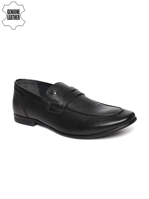 Louis Philippe Men Black Genuine Leather Formal Slip-Ons
