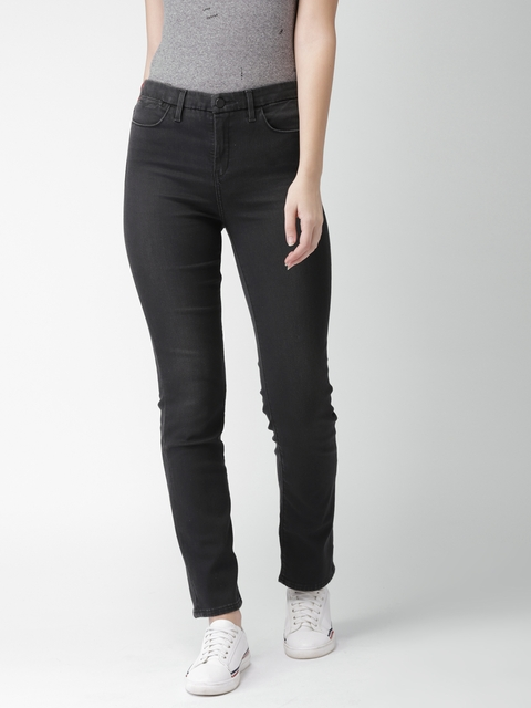 Levis Women Black Slim Fit Mid-Rise Clean Look Stretchable Jeans 312
