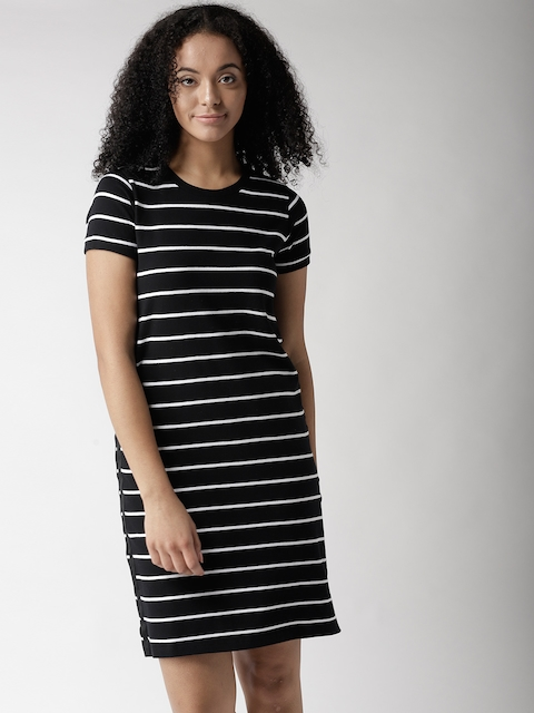 Levis Women Black & White Striped T-shirt Dress