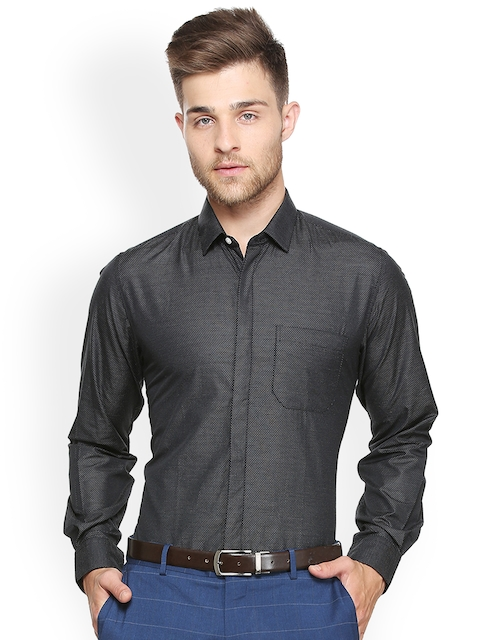 e437e14140d3 Peter England Men Black Slim Fit Self Design Semiformal Shirt