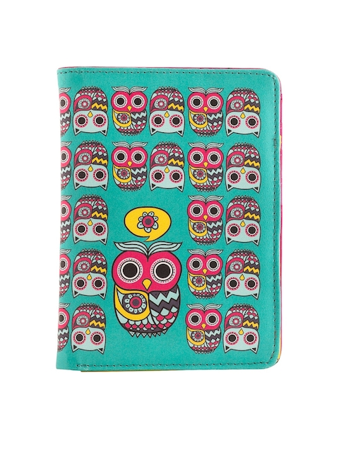 Chumbak Women Teal Owls Of India Printed Two Fold Wallet