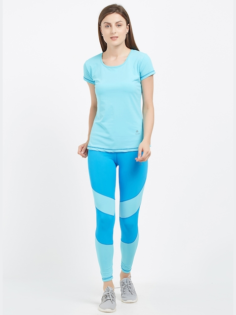 Tuna London Women Blue Solid T-shirt with Tights