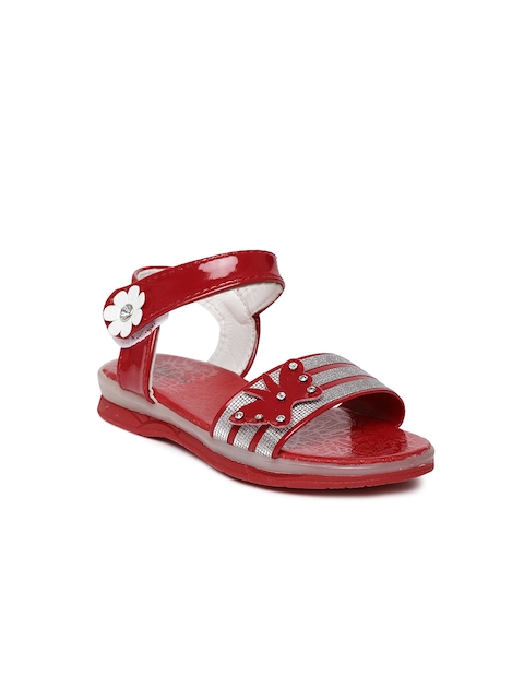 Kittens Girls Red & Silver-Toned Comfort Sandals