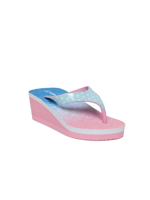 Kittens Girls Pink & Blue Colourblocked Heeled Flip-Flops