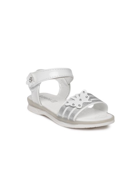 Kittens Girls White and Silver-toned Comfort Sandals