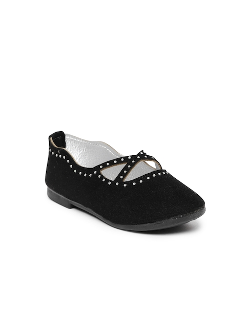 Kittens Girls Black Solid Synthetic Suede Ballerinas