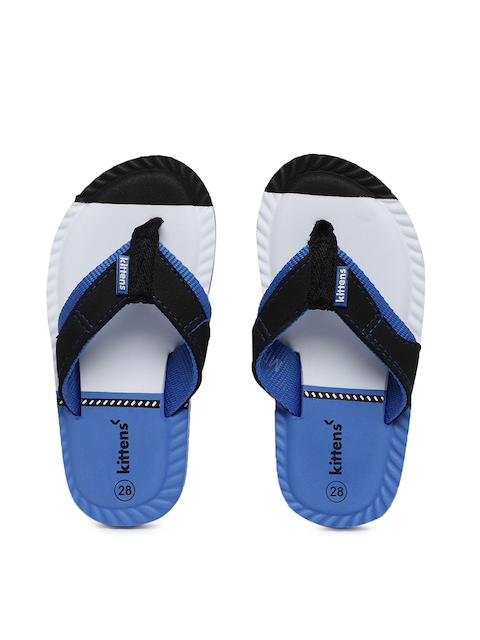 Kittens Boys Black & Blue Colourblocked Thong Flip-Flops