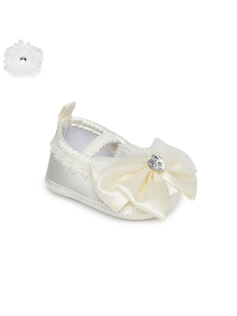 Kittens Girls Off-White Woven Design Synthetic Ballerinas With Hairband