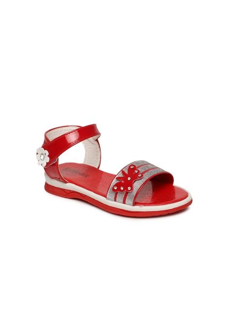 Kittens Girls Red Embellished Comfort Sandals