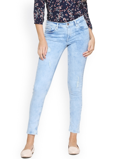 Allen Solly Woman Women Blue Regular Fit Mid-Rise Mildly Distressed Stretchable Jeans