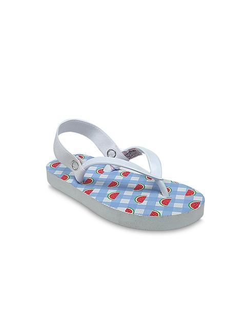 DChica Girls Blue Printed Thong Flip-Flops