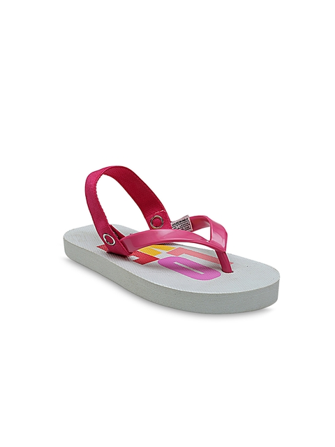 DChica Girls Pink Printed Thong Flip-Flops