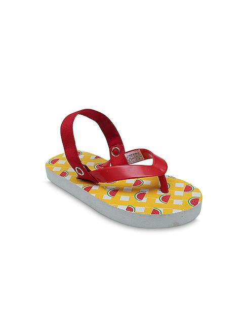 DChica Girls Red Printed Thong Flip-Flops