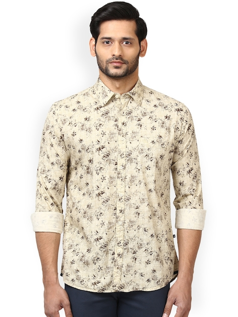 Parx Men Beige & Brown Slim Fit Printed Casual Shirt
