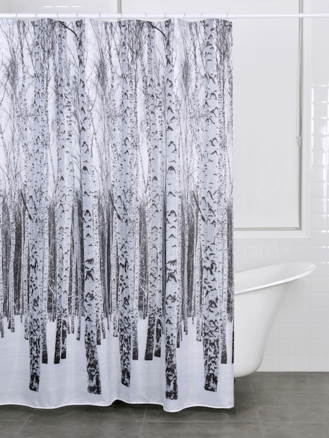 OBSESSIONS White & Grey Printed Shower Curtain