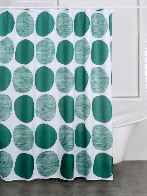 OBSESSIONS White & Green Polyester Shower Curtain