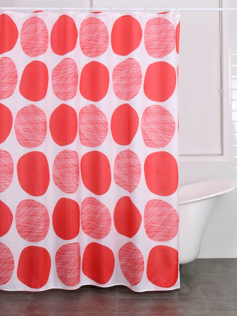OBSESSIONS White & Red Single Printed Opaque Shower Curtain
