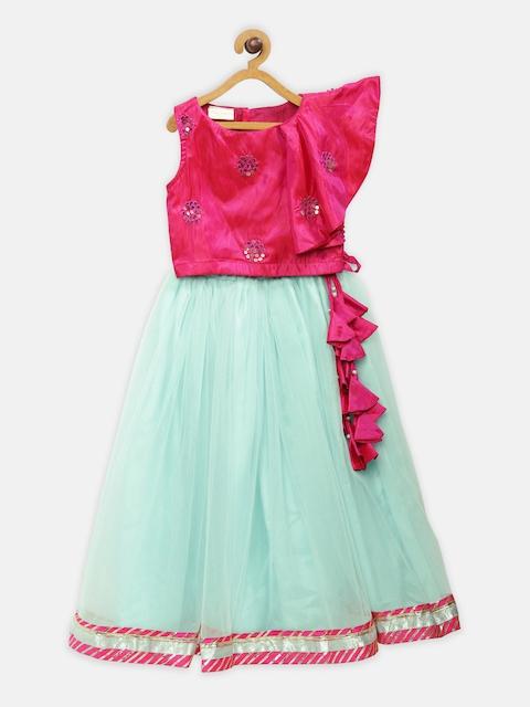 Fairies Forever Girls Pink & Blue Lehenga Choli