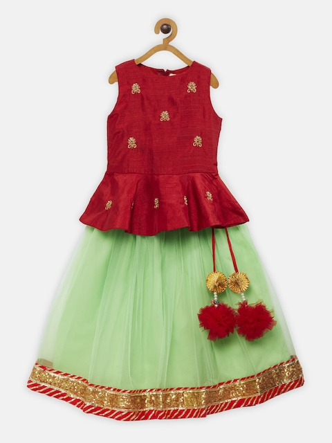 Fairies Forever Girls Red & Green Solid Top with Skirt