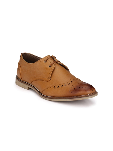 Guava Men Tan Solid Formal Brogues