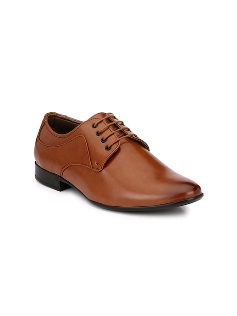 Guava Men Tan Brown Solid Formal Derbys
