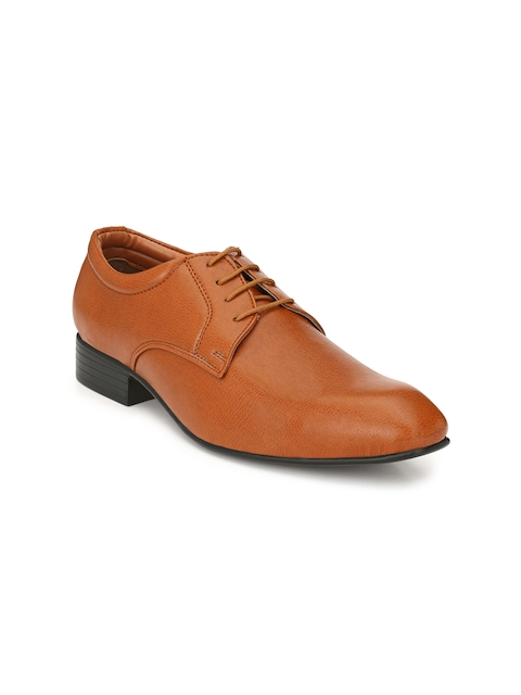 Guava Men Tan Textured Formal Derbys