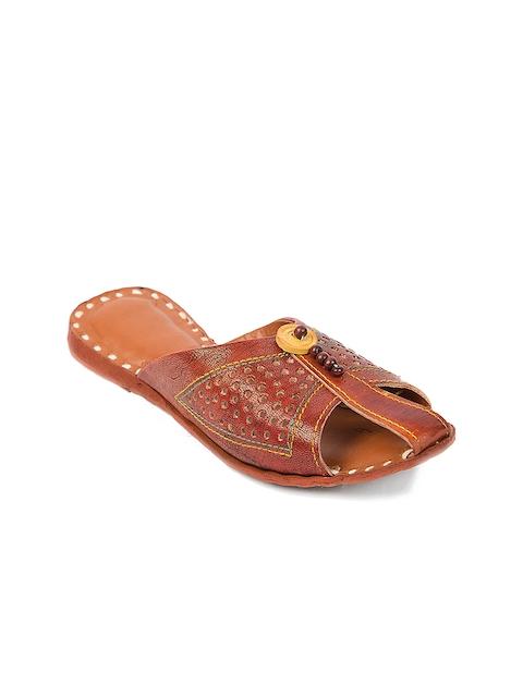 Ta Chic Women Brown Solid Leather Mojaris