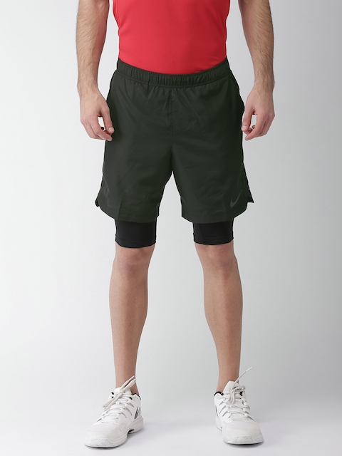 Nike Men Black CHLLGR 2 In 1 Solid Standard Fit DRI-FIT Sports Shorts