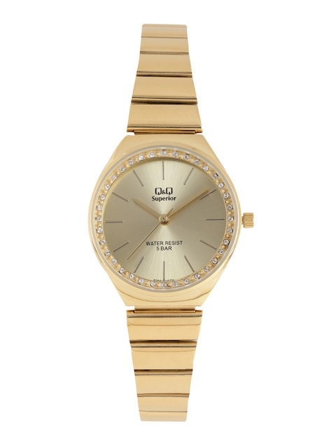 Q&Q Women Gold-Toned Analogue Watch S293J010Y