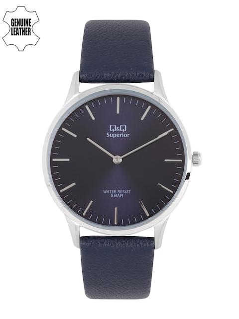 Q&Q Men Navy Blue Analogue Genuine Leather Watch S306J312Y